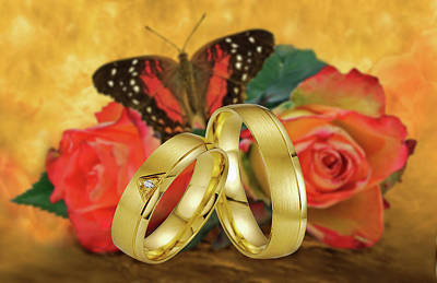 Love Ring Photograph - Wedding-just Married by Manfred Lutzius