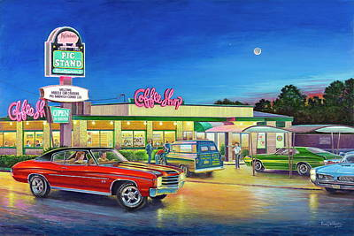 Painting - Muscle Car Cruise Night by Randy Welborn