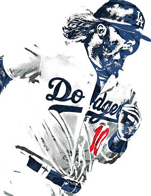Baseball Art Mixed Media - Justin Turner Los Angeles Dodgers Pixel Art by Joe Hamilton