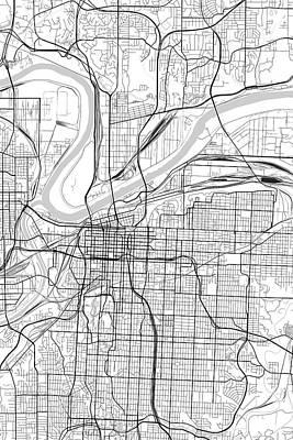 Kansas Digital Art - Kansas City Missouri Usa Light Map by Jurq Studio