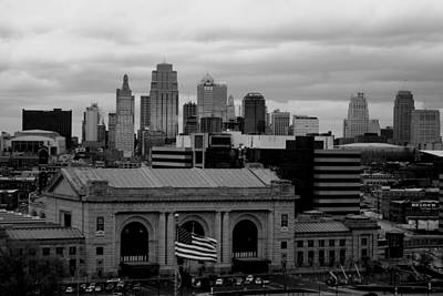 Photograph - Kansas City Skyline Black And White by Matt Harang