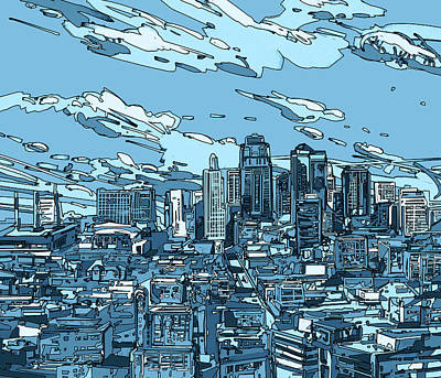 Digital Art - Kansas City Skyline Panorama by Bekim Art