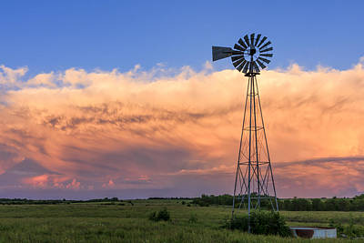 Scott Bean Rights Managed Images - Kansas Windmill and Storm Royalty-Free Image by Scott Bean
