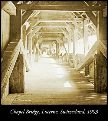 Kapell Bridge, Lucerne, Switzerland, 1903, Vintage, Photograph Art Print