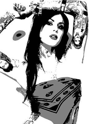 Tattoos Painting - Kat Von D by Dan Carman