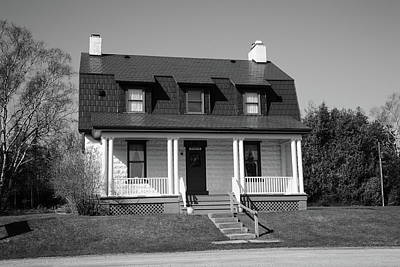 Photograph - Keeper's House - Presque Isle Light Michigan Bw by Frank Romeo
