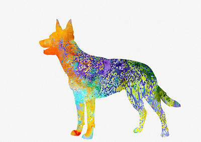 Kelpie-colorful Art Print