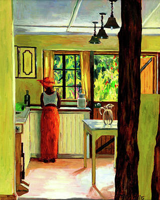African Woman Painting - Kenyan Kitchen by Tilly Willis