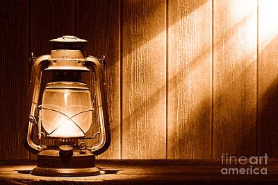 Oil Lamp Photograph - Kerosene Lantern - Sepia by Olivier Le Queinec