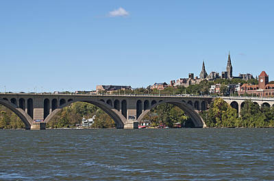 Georgetown Photograph - Key Bridge Over The Potomac River by Brendan Reals