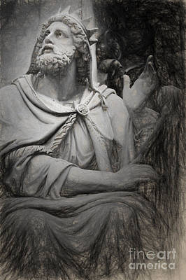 David Drawing - King David By Tadolini by HD Connelly