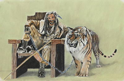Drawing - King Ezekiel And Shiva by Jeanne Fischer