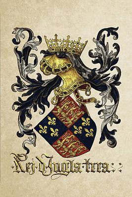 King Of England Coat Of Arms - Livro Do Armeiro-mor Art Print by Serge Averbukh