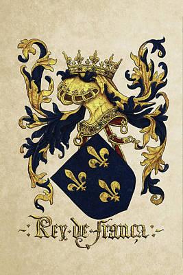 King Of France Coat Of Arms - Livro Do Armeiro-mor  Art Print by Serge Averbukh