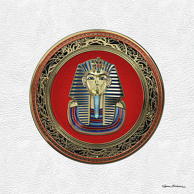 Digital Art - King Tut -tutankhamun's Gold Death Mask Over White Leather by Serge Averbukh
