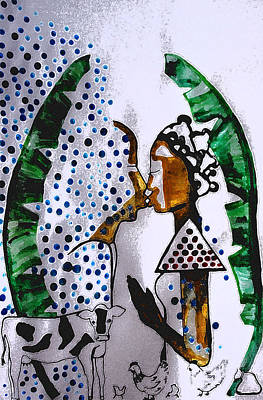 Ceramics Mixed Media - Kintu And Nambi Poster by Gloria Ssali