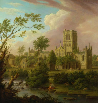 Painting - Kirkstall Abbey. Yorkshire by George Lambert