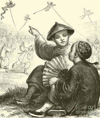 Kites Drawing - Kite Flying In China  by English School