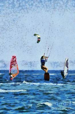 Painting - Kite Surfing And Windsurfing by George Atsametakis