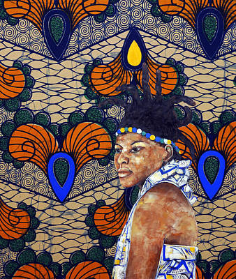 Painting - Kitenge Background Series by Ronex Ahimbisibwe