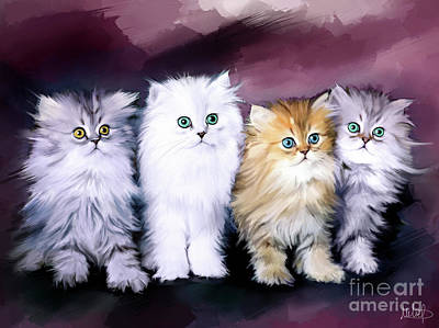 Persian Cat Painting - Kitten Family by Melanie D