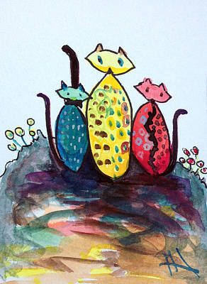 Painting - kittens Family by Patricia Lazaro