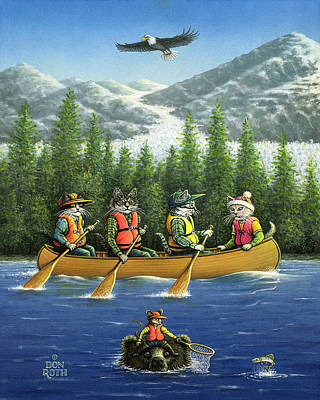 Painting - Kitty, Canoe, And Salmon Too by Don Roth
