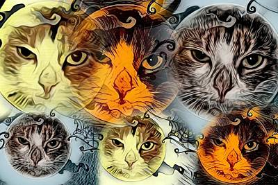 Cabochon Digital Art - Kitty College By Artful Oasis 4 by Artful Oasis