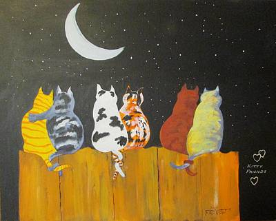Painting - Kitty Friends by Dave Farrow