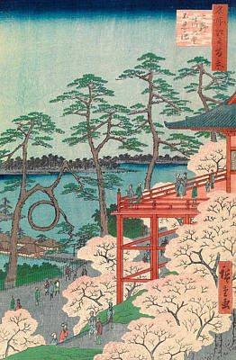 Woodblock Painting - Kiyomizu Hall And Shinobazu Pond At Ueno by Utagawa Hiroshige
