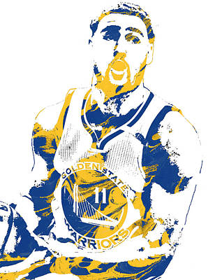 Basket Ball Mixed Media - Klay Thompson Golden State Warriors Pixel Art 3 by Joe Hamilton