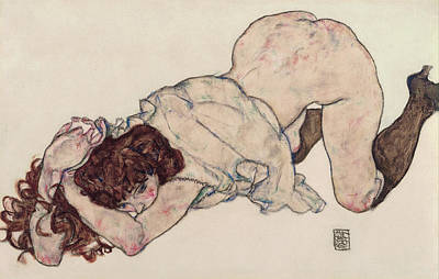 Exposed Painting - Kneeling Girl, Resting On Both Elbows by Egon Schiele