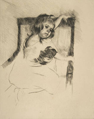 Relief - Kneeling In An Armchair by Mary Cassatt
