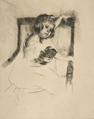 Relief - Kneeling In An Armchair by Mary Cassatt