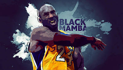 Lebron James Digital Art - Kobe Bryant by Semih Yurdabak