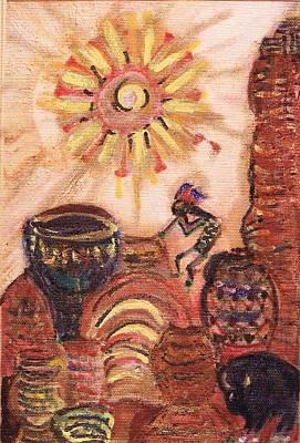 Dance Mixed Media - Kokopelli Fantasy Land by Anne-Elizabeth Whiteway