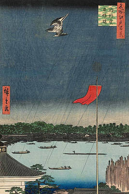 Woodcut Painting - Komagata Hall And Azuma Bridge by Utagawa Hiroshige