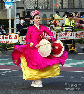 Photograph - Korean Dancer Performs At The Lantern Festival by Yali Shi