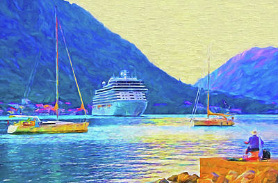 Mixed Media - Kotor Harbor by Dennis Cox Photo Explorer