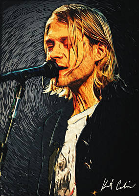 Concert Digital Art - Kurt Cobain by Taylan Apukovska