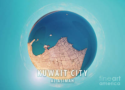 Kuwait City 3d Little Planet 360-degree Sphere Panorama Art Print by Frank Ramspott