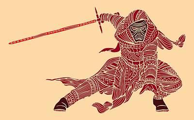 Kylo Ren - Star Wars Art - Red Art Print