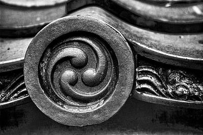 Photograph - Kyoto Temple Roof Tile Detail by Carol Leigh