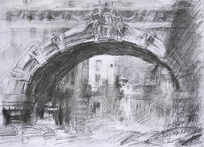 Pencil Painting - L-arco Di Via Tagliamento Rome by Ylli Haruni