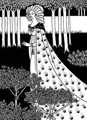 Pear Drawing - La Beale Isoud At Joyous Gard by Aubrey Beardsley