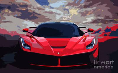 Ferrari Watercolor Photograph - La Ferrari. by Mohamed Elkhamisy