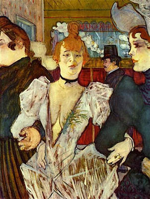 La Goulue Arriving At The Moulin Rouge With Two Women Art Print