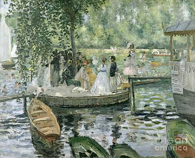 Group Painting - La Grenouillere by Pierre Auguste Renoir