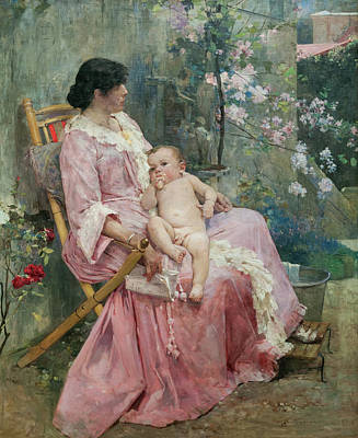 Mother Painting - La Joven Madre by Arturo Michelena