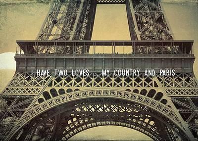 Photograph - La Tour Eiffel Quote by JAMART Photography